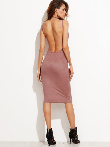 Pink Sleeveless Backless Sheath Dress - Crystalline
