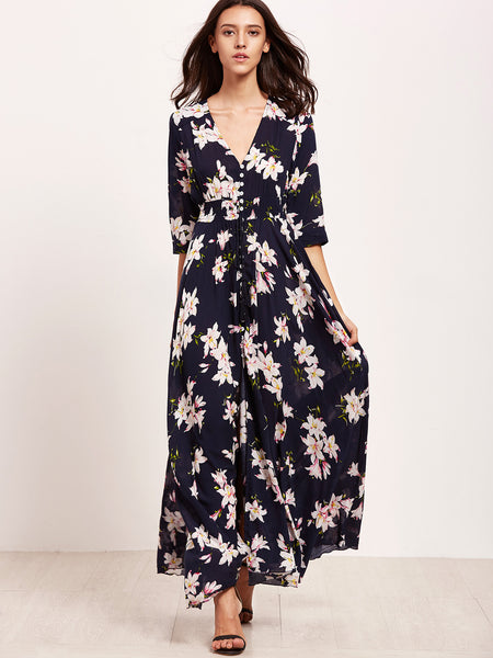 Navy Floral Print V Neck Drawstring Dress