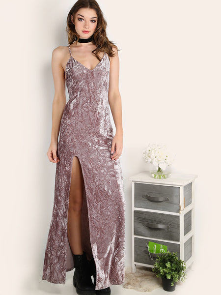 Velvet-High Slit Cami Dress - Crystalline