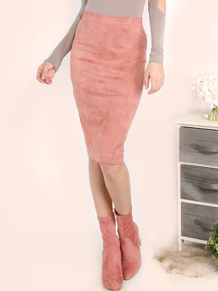 Pink Faux Suede Pencil Skirt - Crystalline