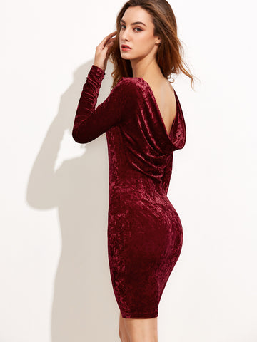 Burgundy Draped Back Velvet Bodycon Dress - Crystalline