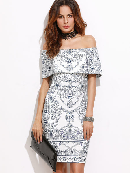White Vintage Print Foldover Off The Shoulder Bodycon Dress - Crystalline