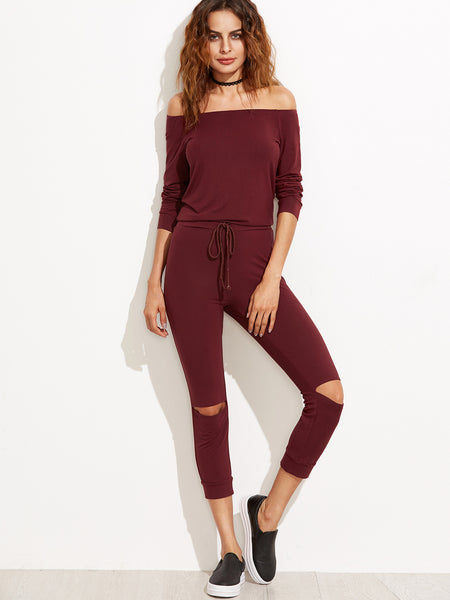Burgundy Off The Shoulder Knee Ripped Drawstring Jumpsuit - Crystalline