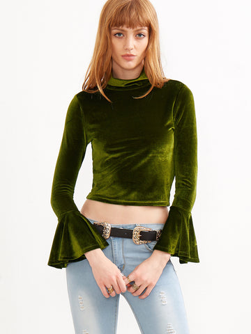 Green Mock Neck Bell Cuff Crop Velvet Top - Crystalline