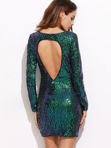 Iridescent Green Open Back Sequin Bodycon Dress - Crystalline