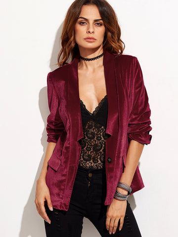 Burgundy One Button Notched Collarless Velvet Blazer - Crystalline