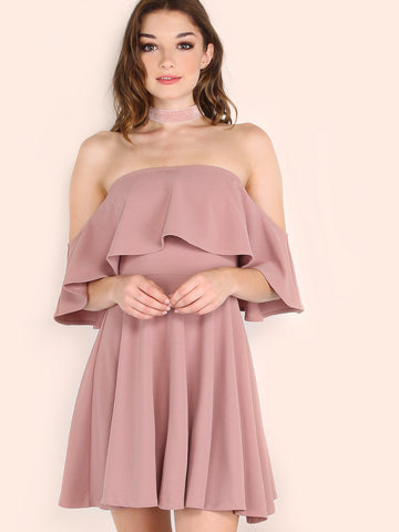 Pink Off The Shoulder Skater Dress - Crystalline