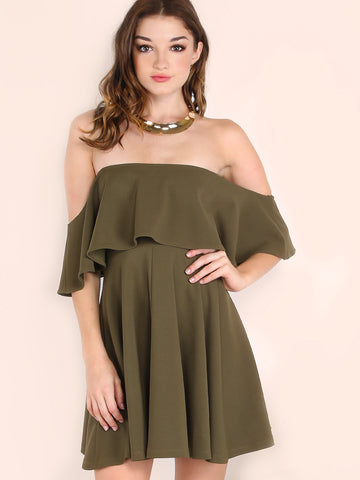Army Green Off The Shoulder Skater Dress - Crystalline