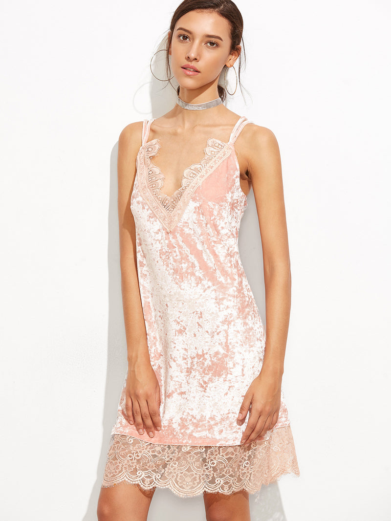 Pink Eyelash Lace Trim Velvet Strappy Cami Dress - Crystalline