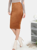 Camel Suede Pencil Skirt CoCo