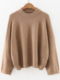 Crew Neck Drop Shoulder Sweater - Crystalline