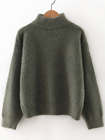 Army Green Turtleneck Winter Sweater