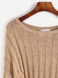 Khaki Scoop Neck Hollow Out Crop Sweater