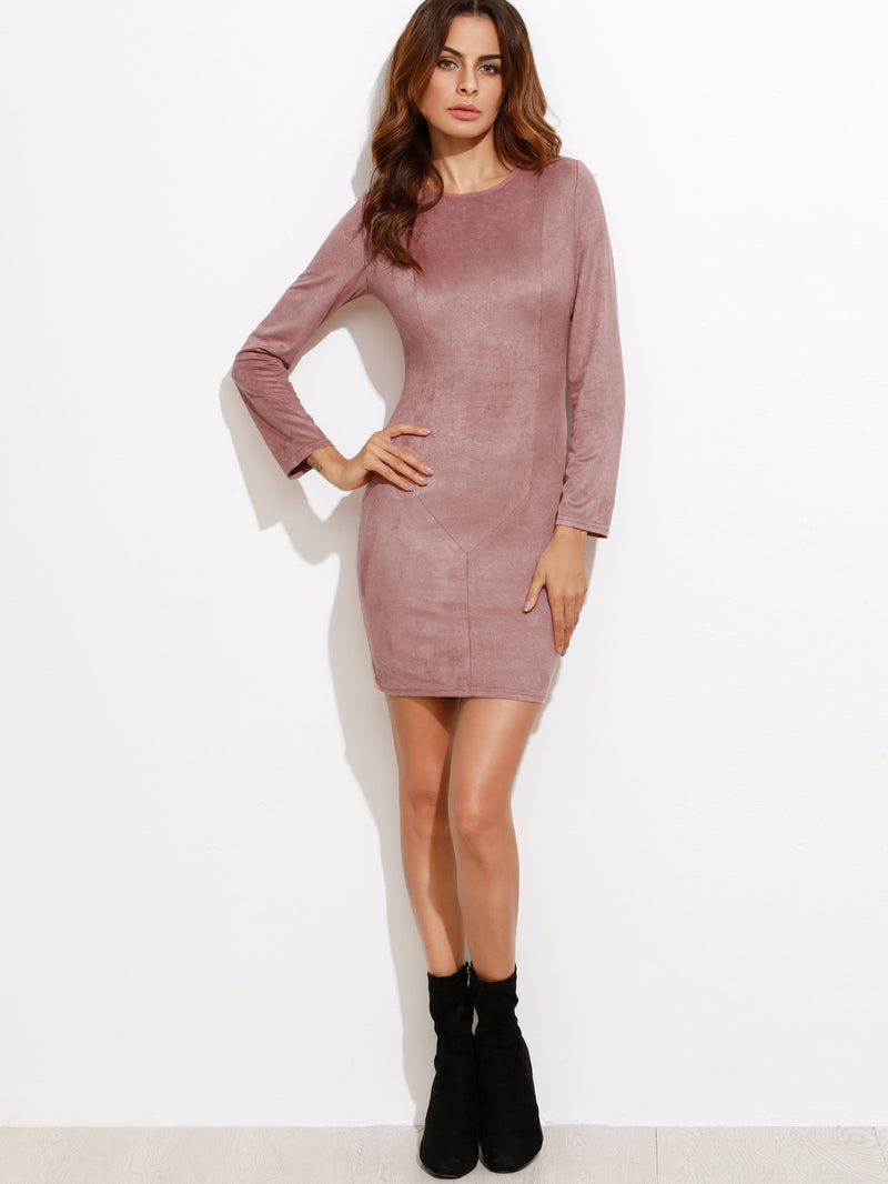 Pink Faux Suede Bodycon Dress - Crystalline