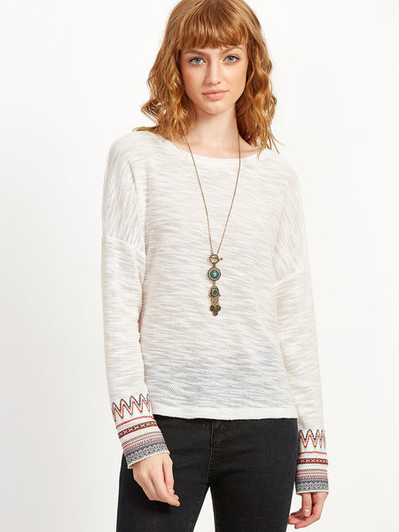 White Drop Shoulder Slub Sweater