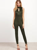 Olive Green Sleeveless Halter Neck Jumpsuit