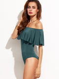 Dark Green Ruffle Off The Shoulder Bodysuit - Crystalline