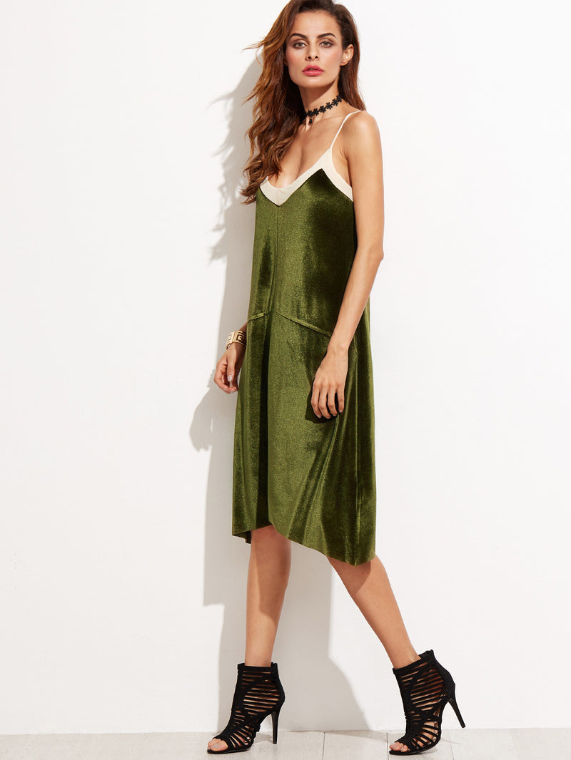 Color Block Velvet Slip Dress - Crystalline