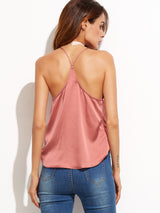 Pink Satin Wrap Cami Top - Crystalline