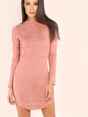 Pink Mock Neck Curved Hem Velvet Bodycon Dress - Crystalline