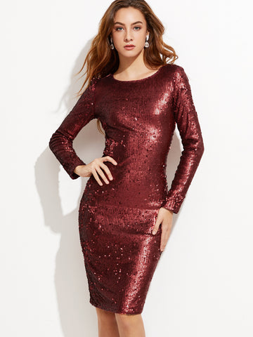 Burgundy Embroidered Sequin Pencil Dress - Crystalline