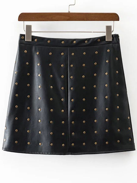 Black Studded A Line Skirt