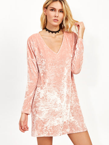 Pink Velvet V Neck Shift Dress - Crystalline