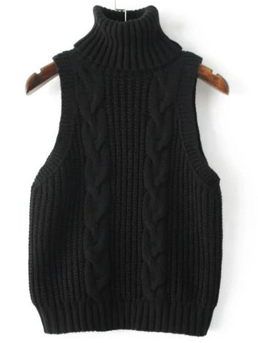 Black Cable Knit Turtleneck Vest Sweater