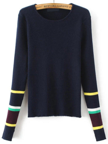 Navy Striped Cuff Knitwear