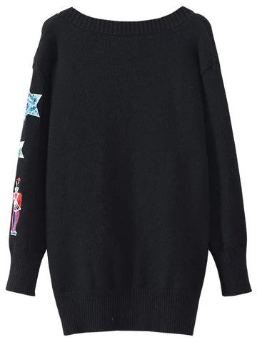 Black Embroidery Sweater