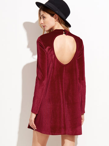 Red Velvet Backless Long Sleeve Shift Dress - Crystalline