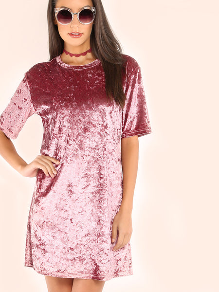 Pink Velvet T-shirt Dress - Crystalline