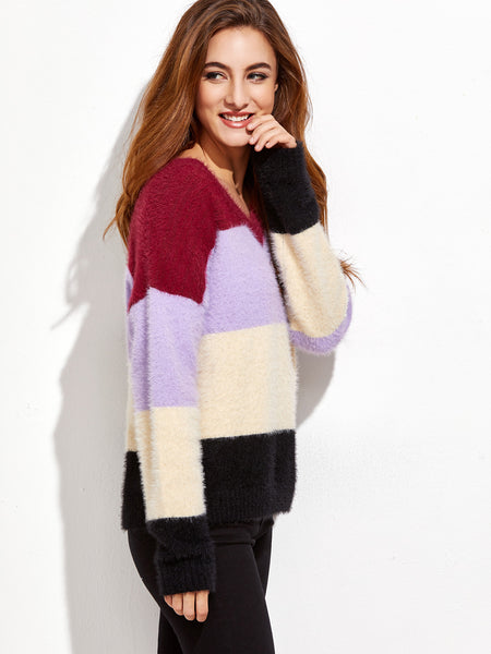 Color Block Fluffy Sweater