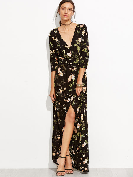 Black V-Neck 3/4 Sleeve Floral Print Maxi Dress