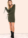 Green Knitted Sweater Bodycon Dress