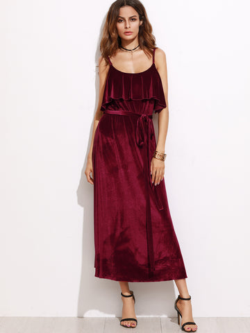 Burgundy Belted Ruffle Velvet Cami Dress - Crystalline