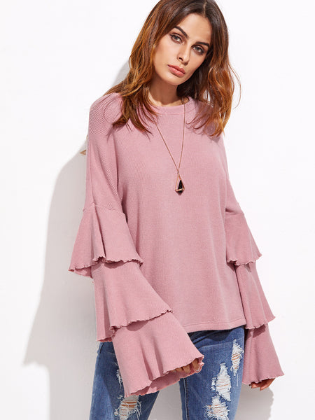 Pink Layered Sleeve Top