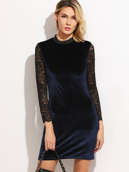Navy Contrast Lace Sleeve Keyhole Back Velvet Dress - Crystalline