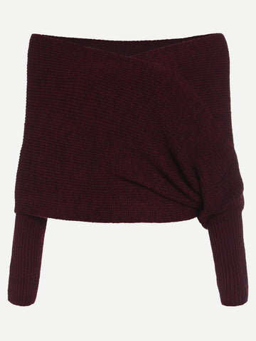 Burgundy Marled Cross Wrap Sweater