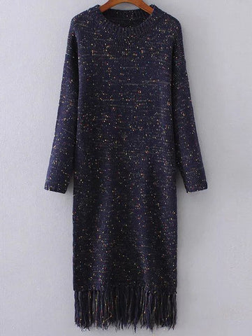Navy Drop Shoulder Knit Dress