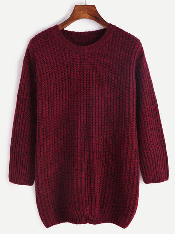 Burgundy Marled Knit Loose 3/4 Sleeve Sweater