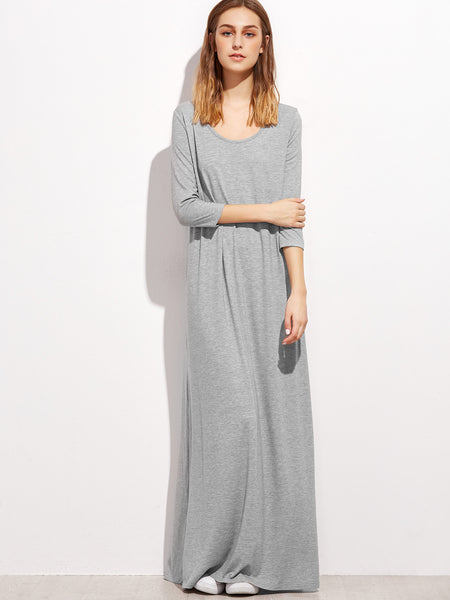 Grey Double Scoop Maxi Tee Dress