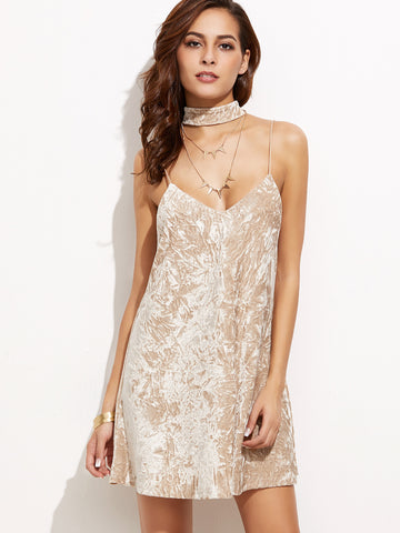 Apricot Crushed Velvet Cami Dress With Neck Tie - Crystalline