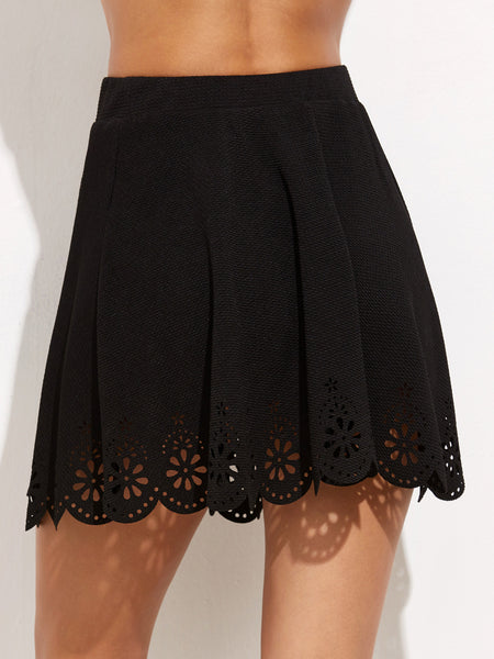 Black Laser Cutout Textured Skirt