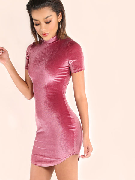 Purple Mock Neck Curved Hem Velvet Bodycon Dress - Crystalline