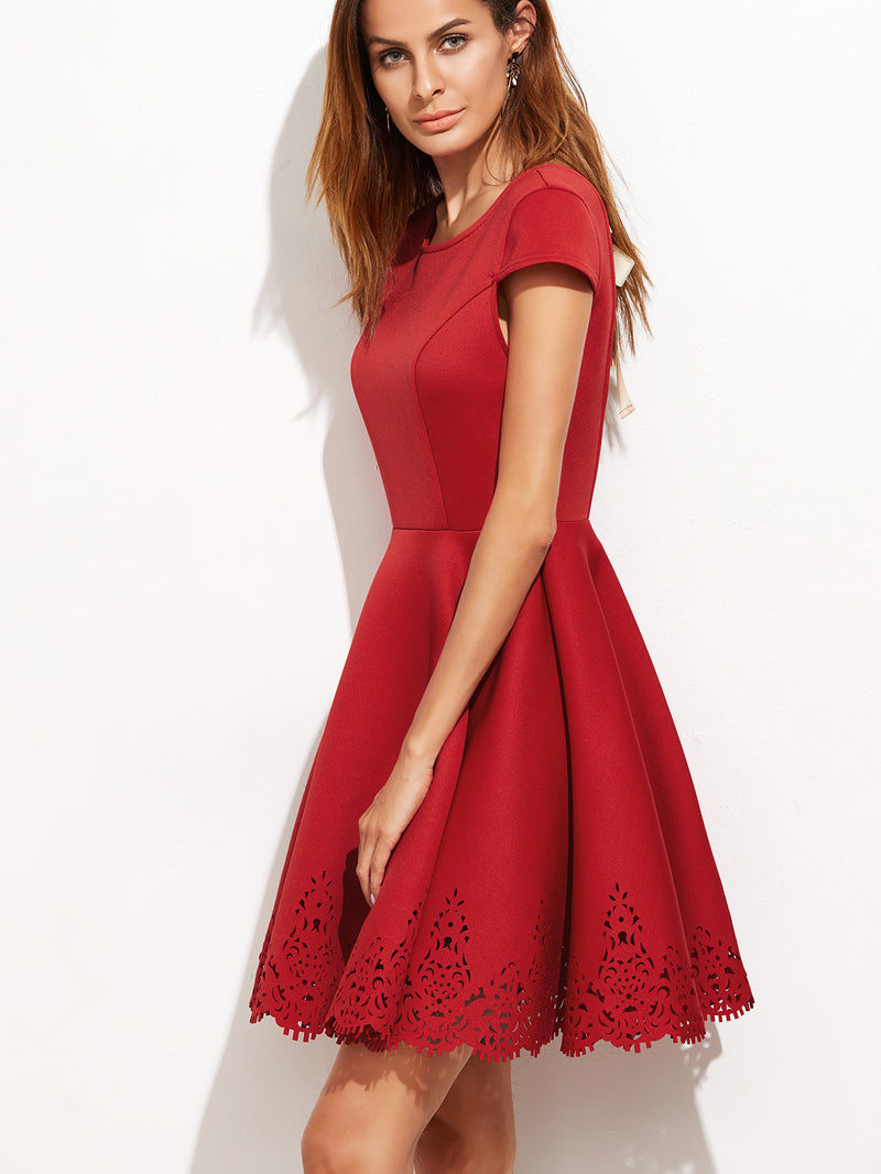 Red Open Back Flare Dress - Crystalline