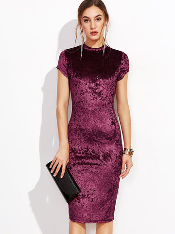 Burgundy Mock Neck Cap Sleeve Velvet Pencil Dress - Crystalline