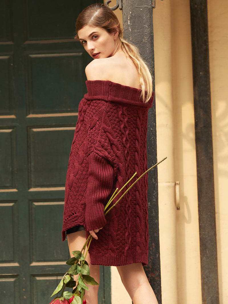 Burgundy Cable Knit Off The Shoulder High Low Sweater - Crystalline