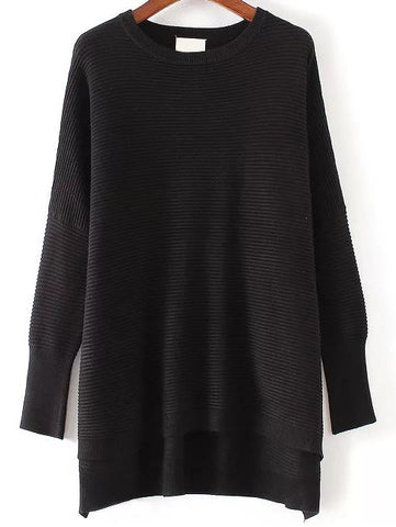 Black Ribbed Long Back Knitwear