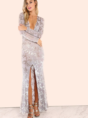 Grey Vine Pattern Deep V Neck Slit Front Sheer Dress - Crystalline